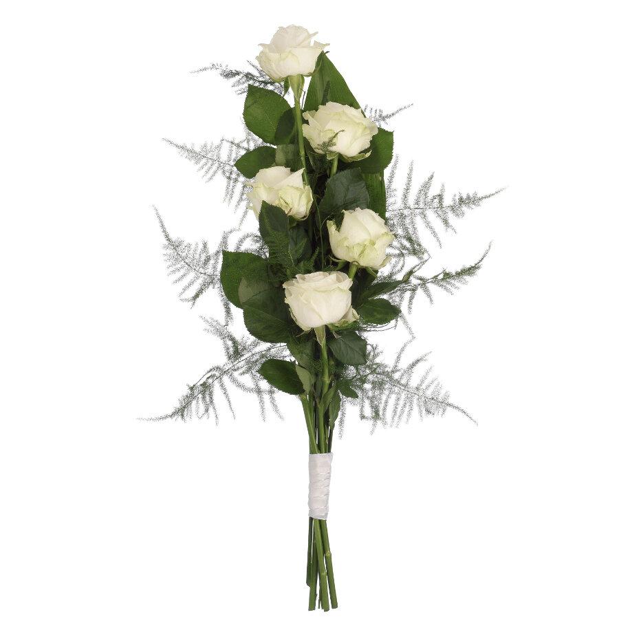 Rouwboeket witte rozen met groen ( UB 101 )