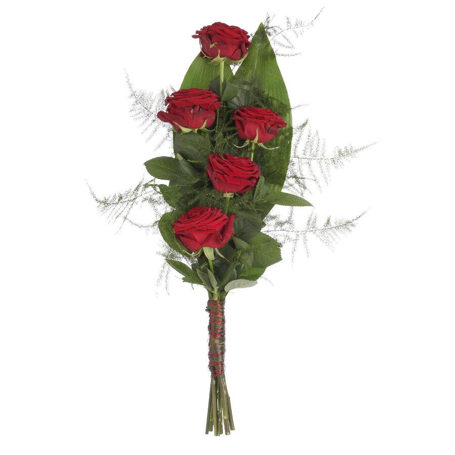 Rouwboeket rode rozen met groen ( UB 100 )