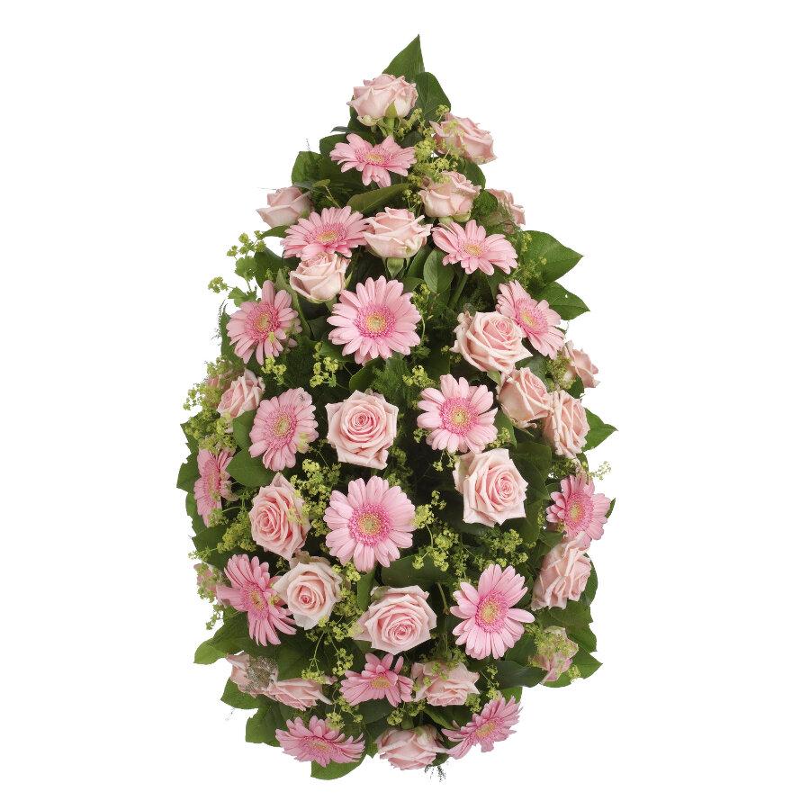 Rouwstuk roze bloemen druppel model ( UB 202 )