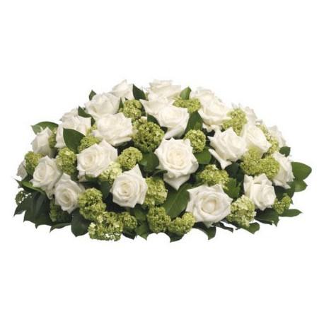 Rouwbiedermeier witte bloemen met groen opgemaakt ( UB 1280 )