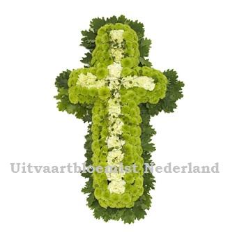 Rouwkruis créme - groen opgemaakt ( UB 2002 )