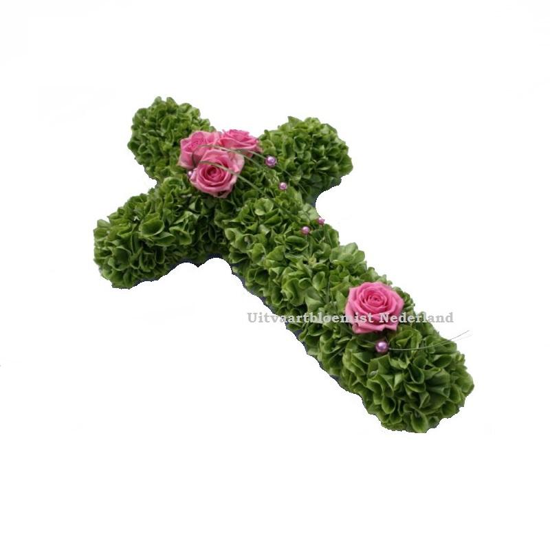 Rouwkruis groen met roze accentje ( UB 2004 )