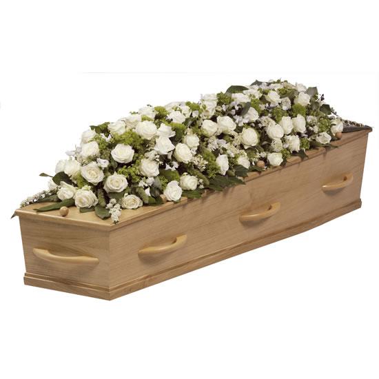 Rouwstuk kistbedekking witte bloemen ( UB 984 )