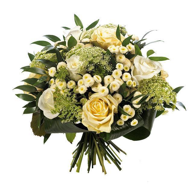 Sympathie boeket witte bloemen rond ( 901 )