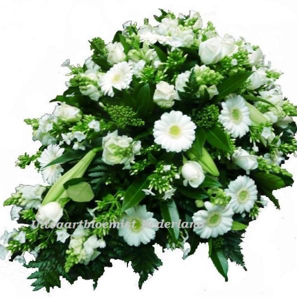 Rouwstuk druppel model witte bloemen ( UB 203 )