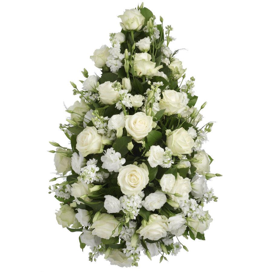 Rouwstuk witte bloemen druppel model ( UB 201 )