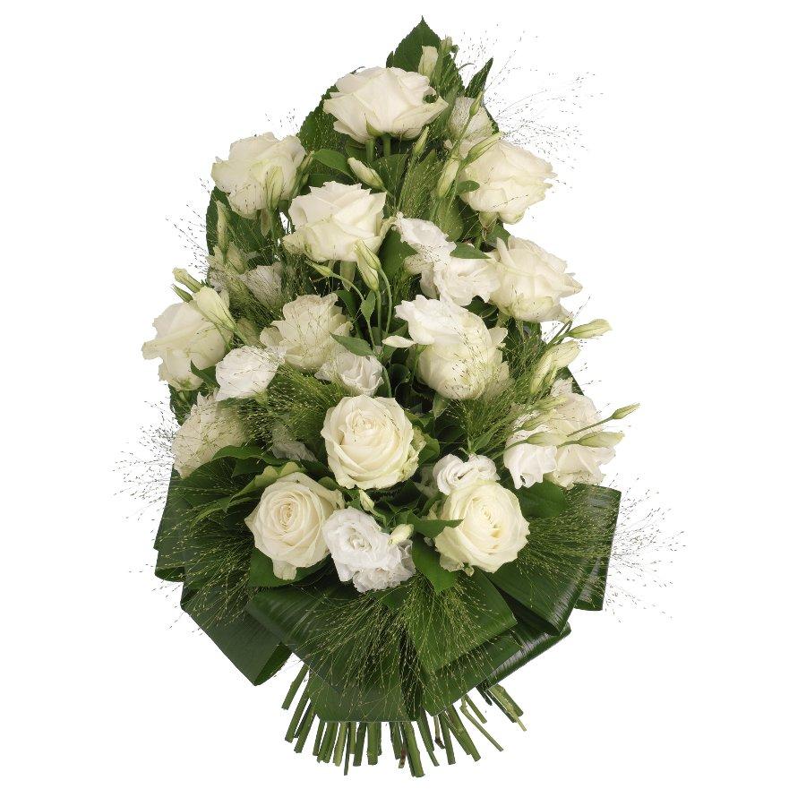 Rouwboeket witte bloemen met groen ( UB 103 )