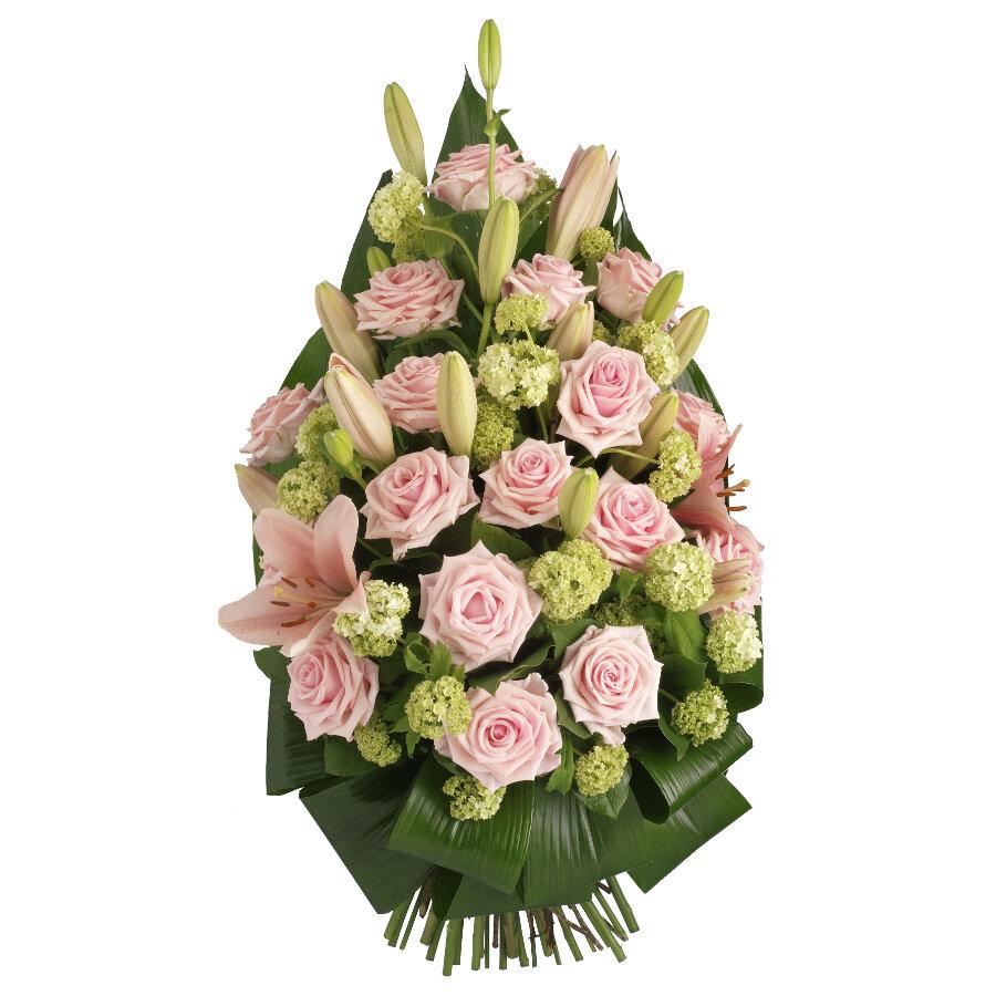 Rouwboeket roze bloemen met groen ( UB 104 )